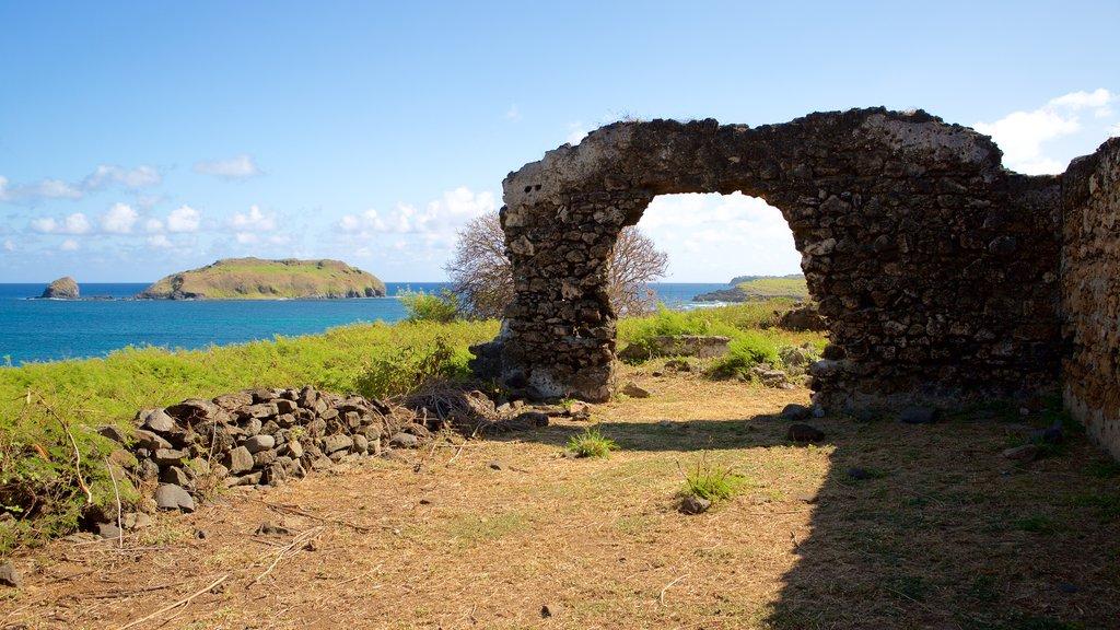 Santo Antonio Fort Ruins showing general coastal views and building ruins