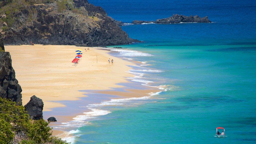 Fernando de Noronha showing general coastal views, a beach and rocky coastline