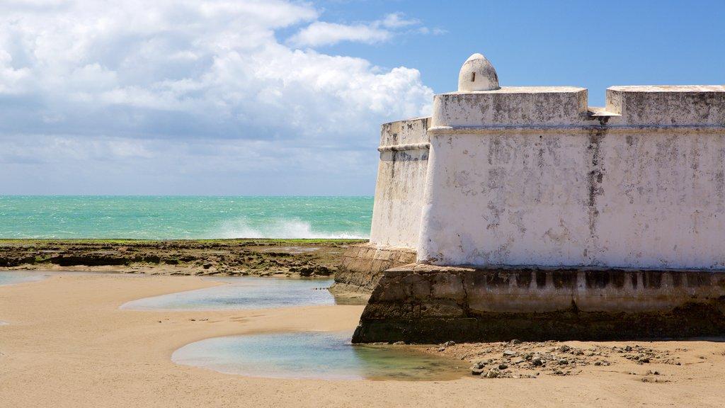 Forte dos Três Reis mostrando elementos de patrimônio, paisagens litorâneas e uma praia