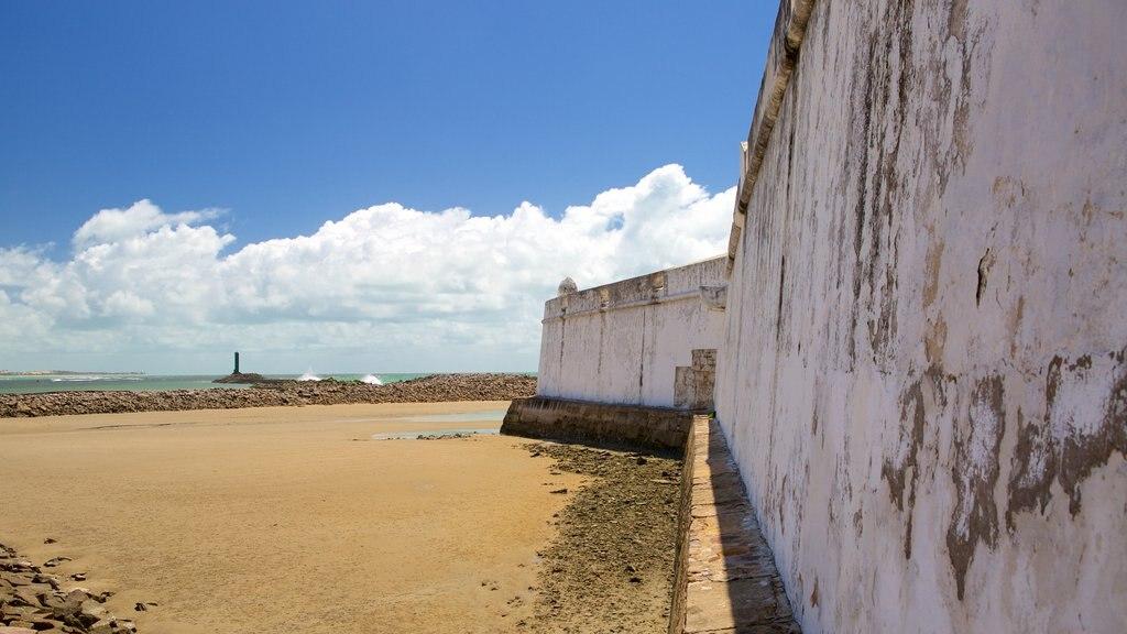 Forte dos Três Reis que inclui elementos de patrimônio, paisagens litorâneas e uma praia