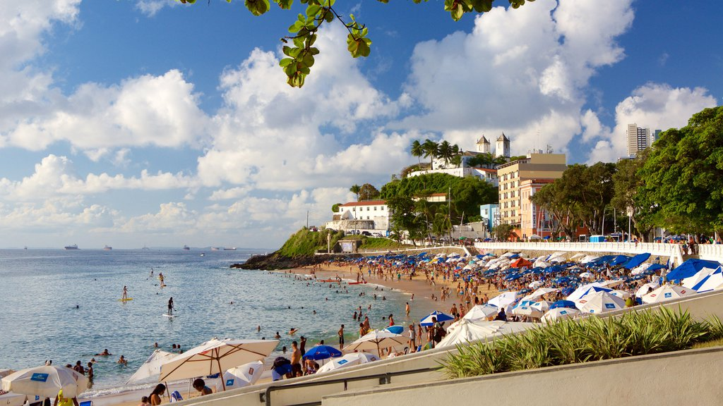 Praia do Porto da Barra mostrando uma cidade litorânea, paisagens litorâneas e uma praia