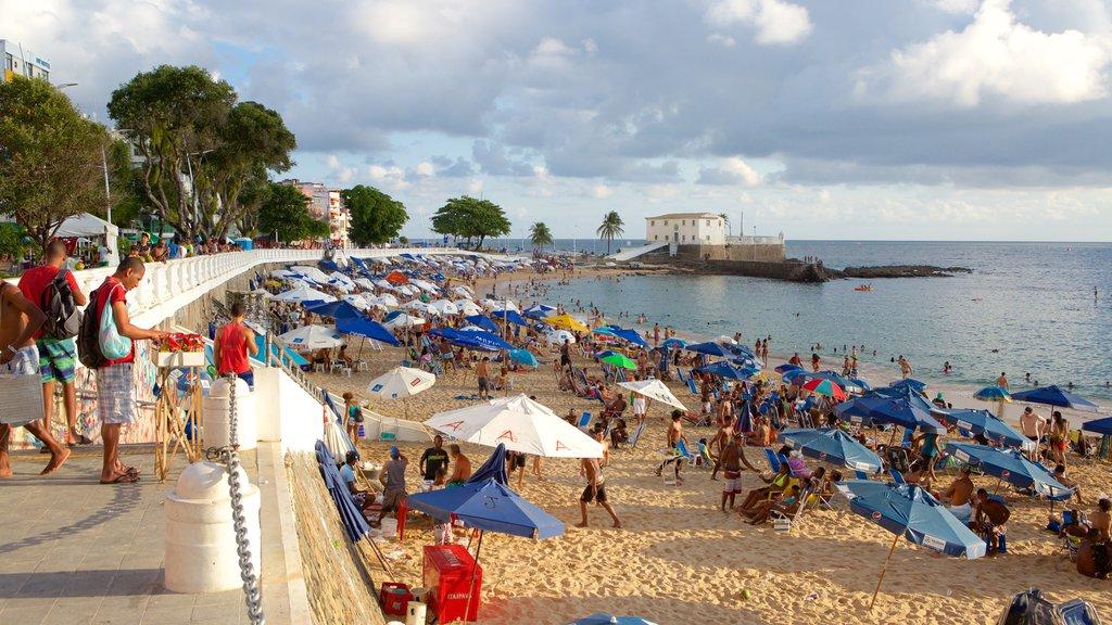 Praia do Porto da Barra mostrando natação, paisagens litorâneas e uma praia de areia