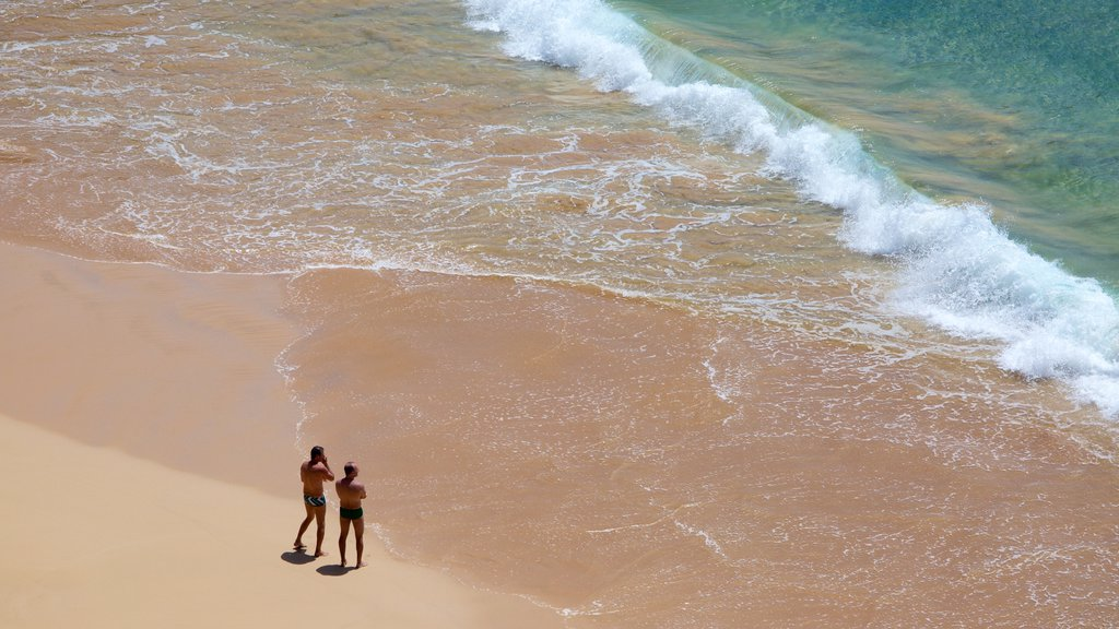 Sancho Beach which includes waves and general coastal views as well as a couple