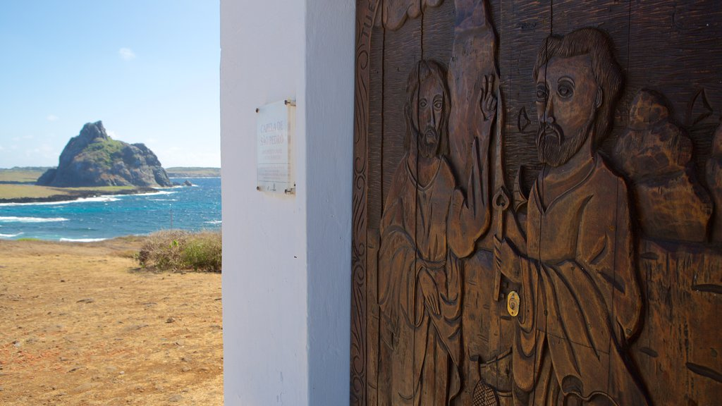 Sao Pedro Chapel which includes art, general coastal views and religious aspects