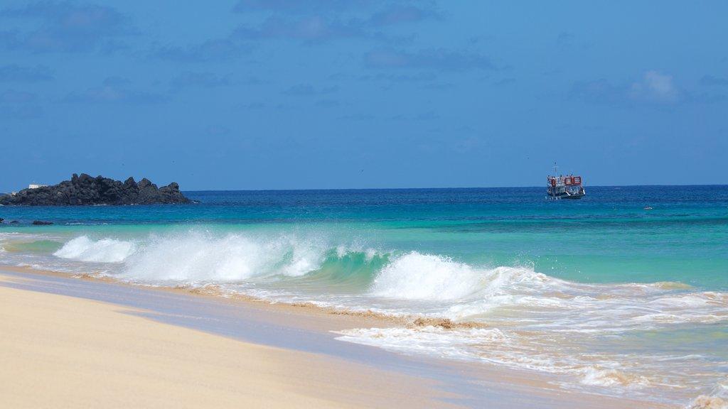 Praia Cacimba do Padre que inclui uma praia, ondas e paisagens litorâneas