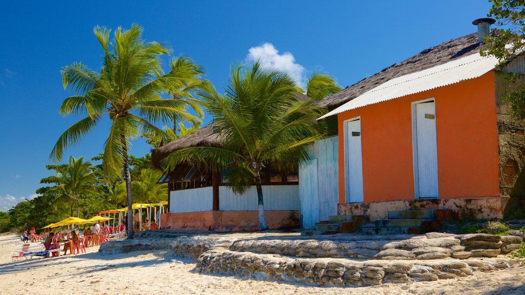 Coroa Vermelha showing a coastal town and a beach