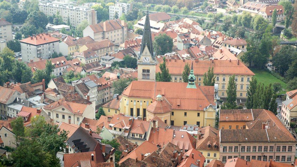 Ljubljana Castle showing a house and a city