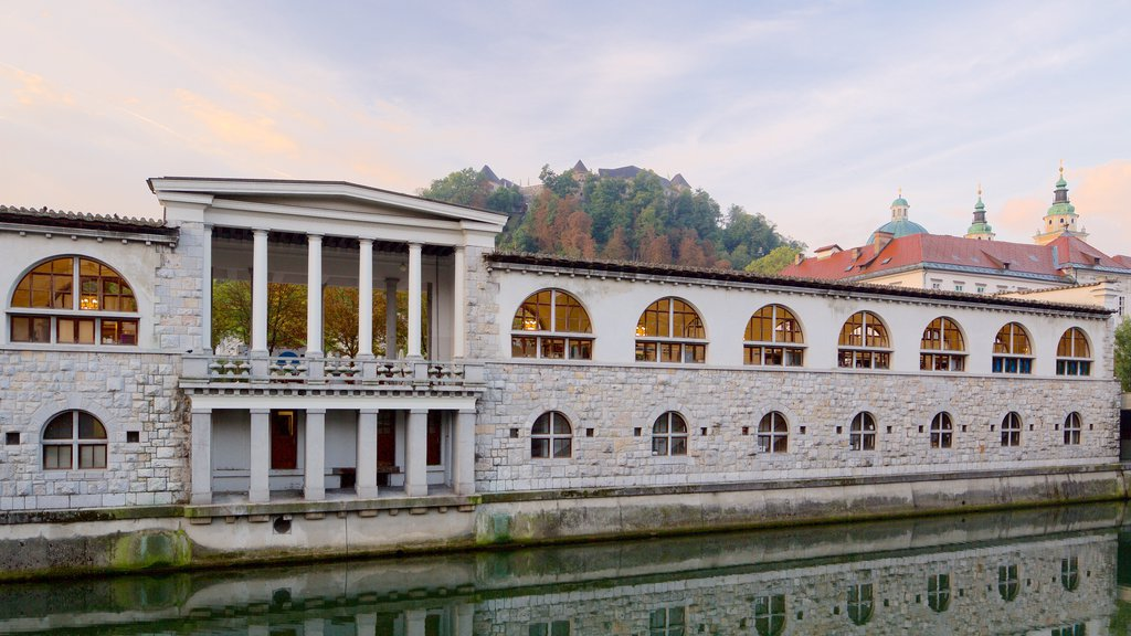 Ljubljana showing a river or creek and heritage architecture