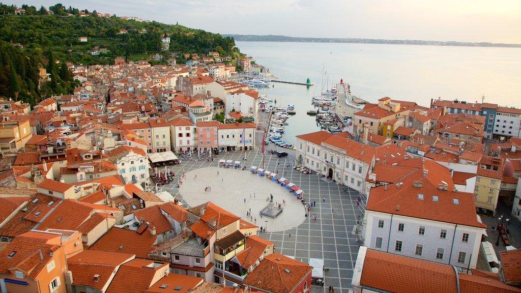 Piran which includes general coastal views and a coastal town