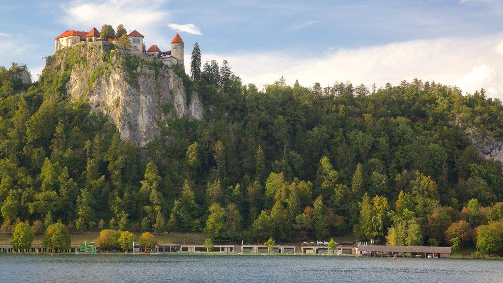 Castillo de Bled ofreciendo un lago o abrevadero y vistas de paisajes