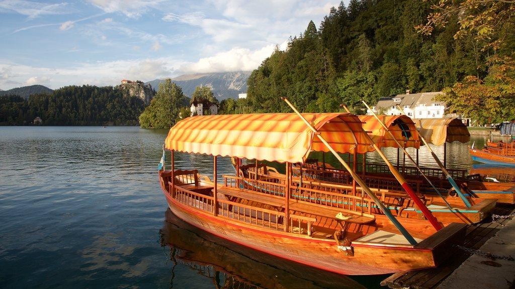Lago de Bled que incluye vistas generales de la costa y paseos en lancha