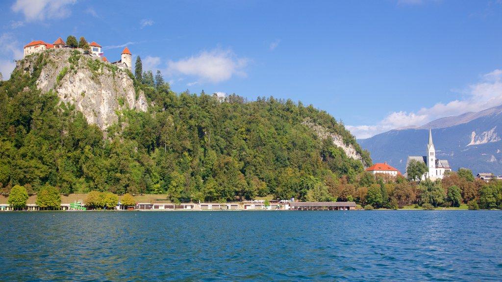 Lago de Bled mostrando un lago o abrevadero y un castillo
