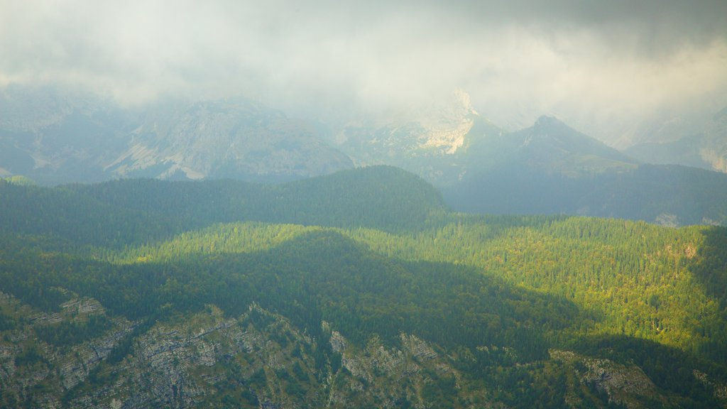 Triglav National Park showing mountains, landscape views and mist or fog