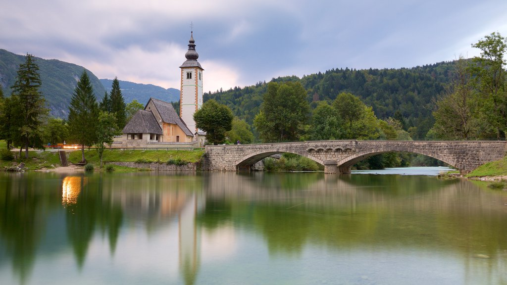 Lake Bohinj which includes a bridge, a lake or waterhole and forests