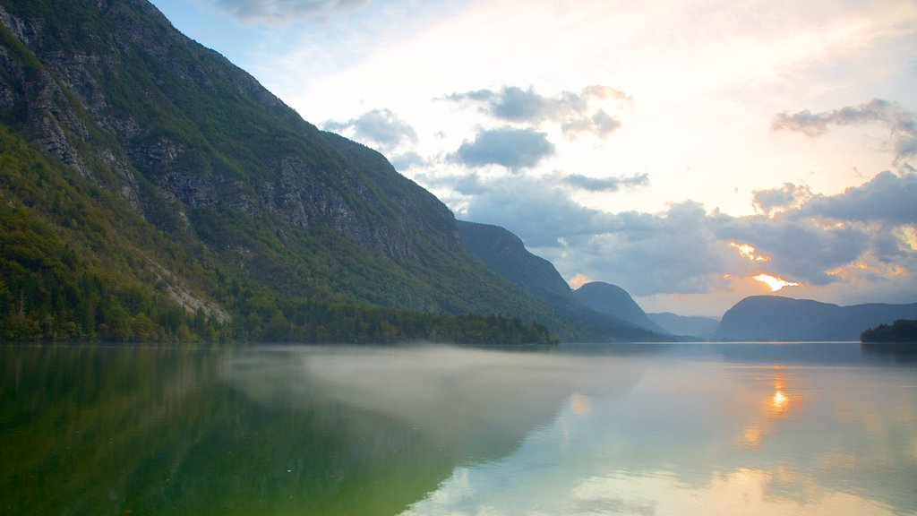 Lake Bohinj featuring landscape views, forest scenes and a lake or waterhole