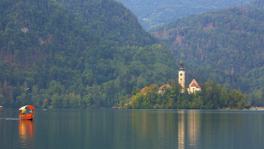 Church of Sv Marika Bozja which includes forest scenes, a church or cathedral and boating