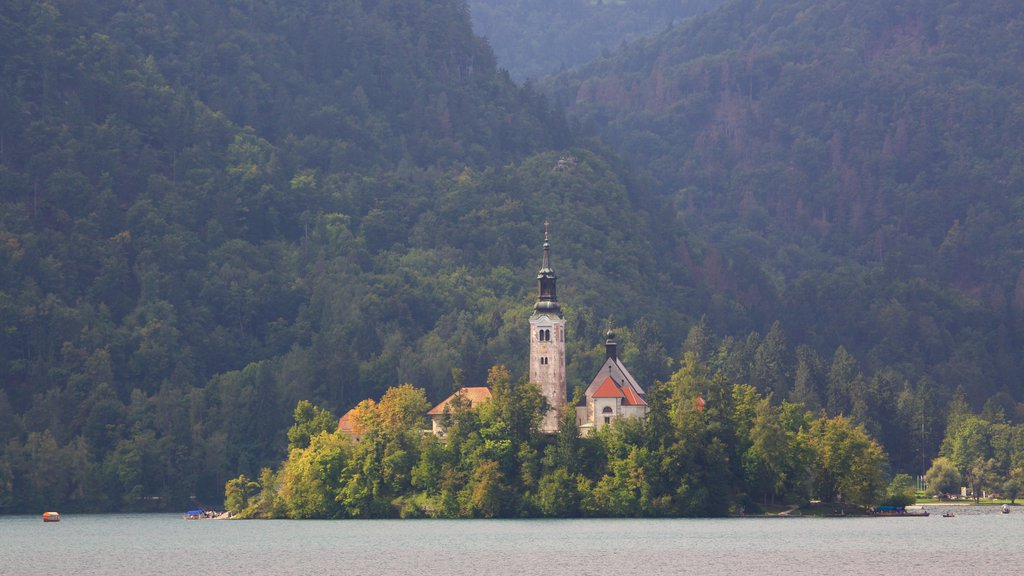 Church of Sv Marika Bozja which includes forests, mountains and a lake or waterhole