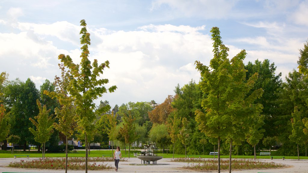 Ljubljana featuring a park as well as an individual femail