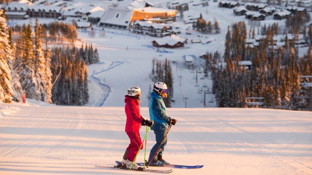 Salen mostrando esquiar en la nieve, nieve y una pequeña ciudad o pueblo
