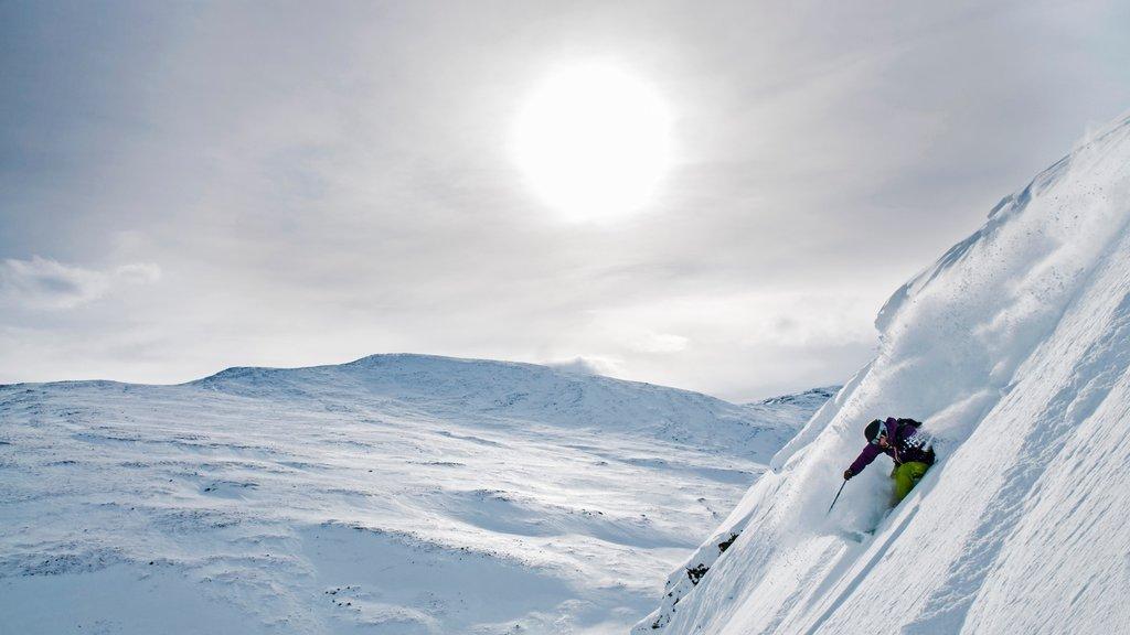 Riksgransen mostrando esquiar en la nieve, una puesta de sol y nieve