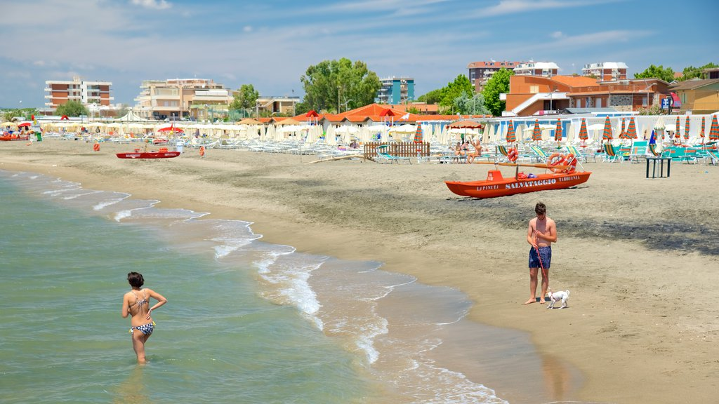 Tarquinia featuring swimming, a coastal town and a sandy beach
