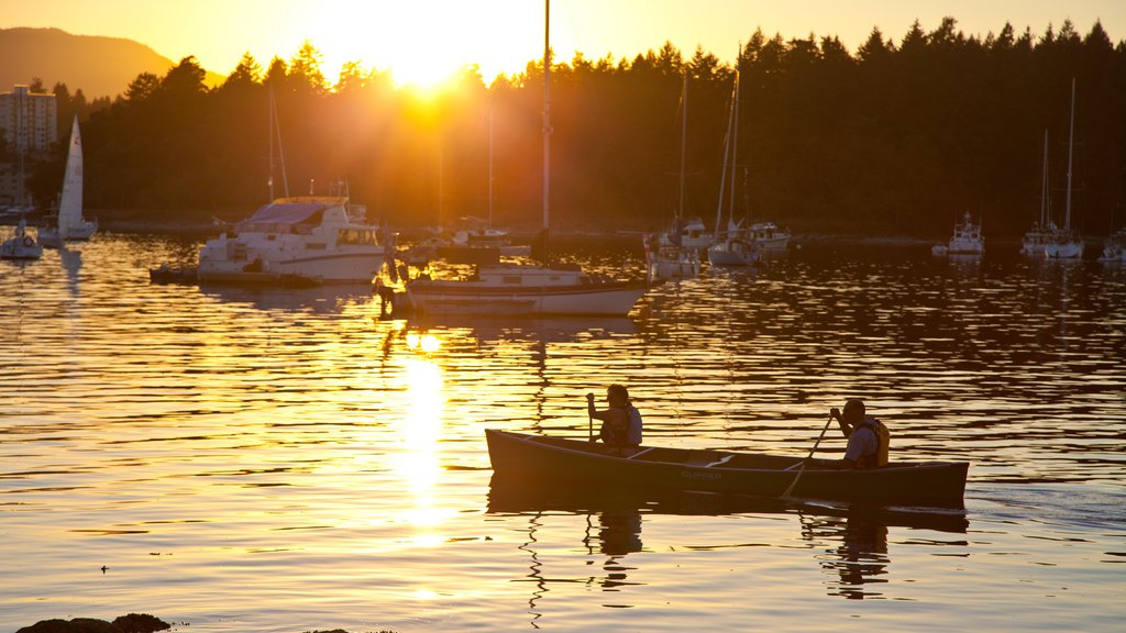 Nanaimo featuring a bay or harbor, a sunset and kayaking or canoeing