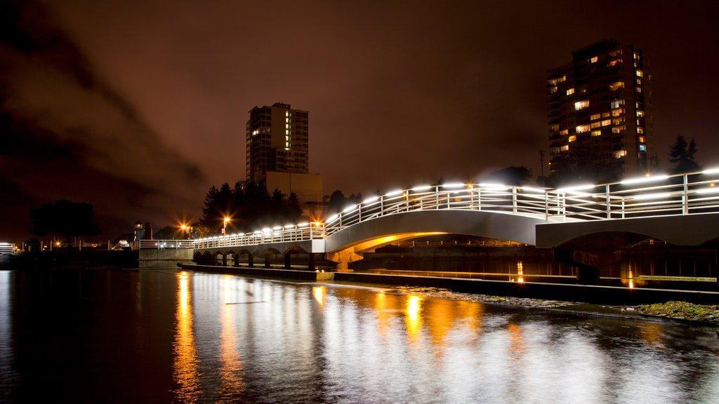 Nanaimo que incluye escenas nocturnas y un puente