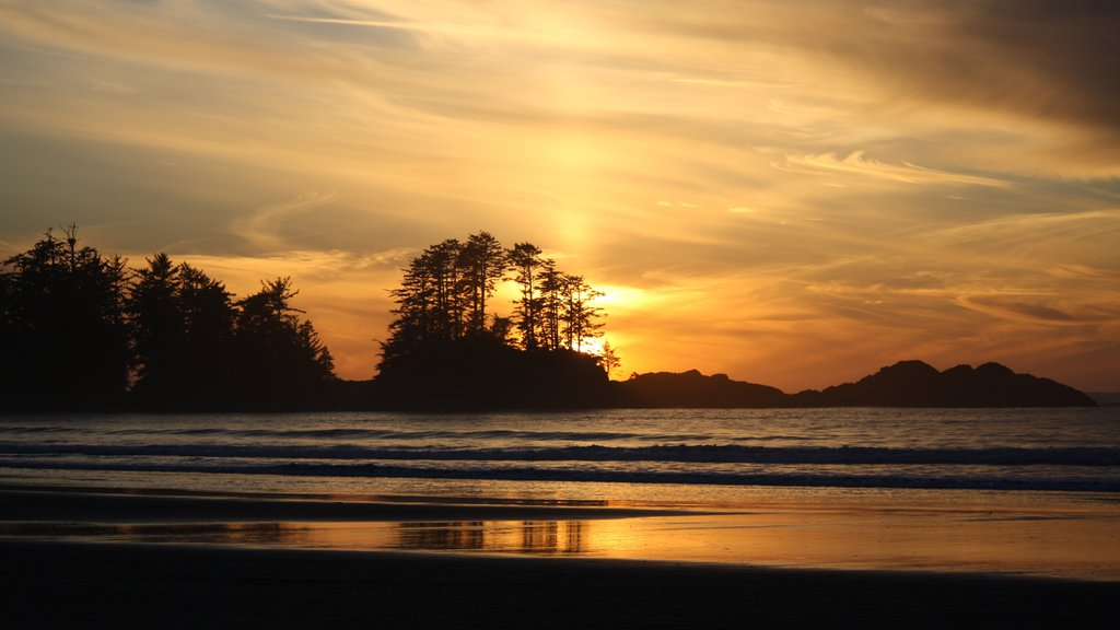 Chesterman Beach showing a sunset, a beach and landscape views