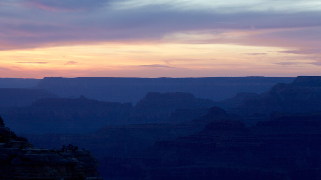 Grand Canyon featuring a gorge or canyon, landscape views and a sunset