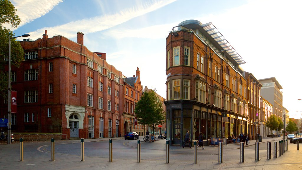 Leicester which includes heritage architecture, a city and street scenes