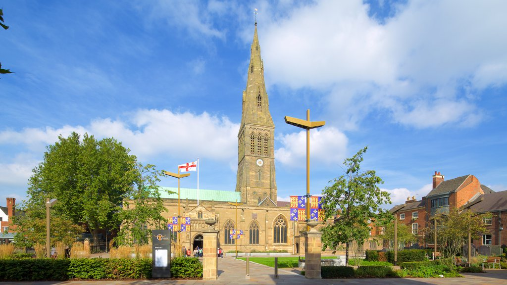 Leicester Cathedral showing heritage architecture and a church or cathedral