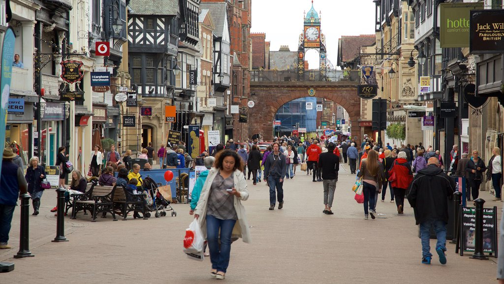 Chester showing markets, street scenes and a city
