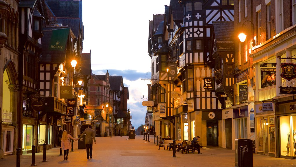 Chester featuring street scenes, a city and night scenes