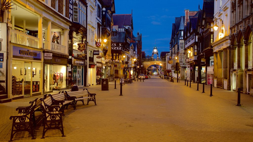 Chester which includes night scenes, a city and street scenes