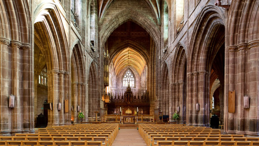 Chester Cathedral featuring religious aspects, a church or cathedral and interior views