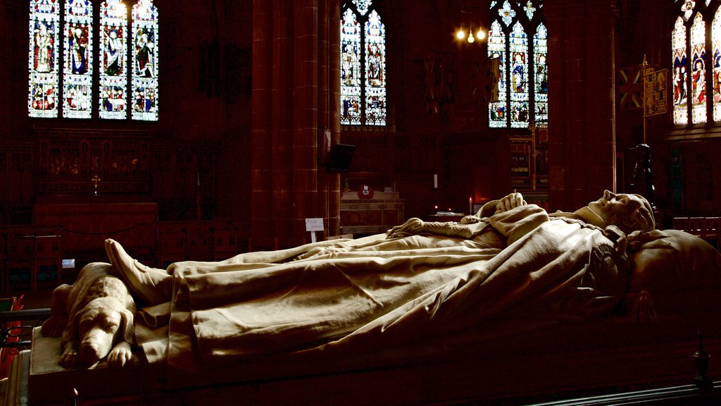Chester Cathedral showing interior views, religious aspects and a memorial
