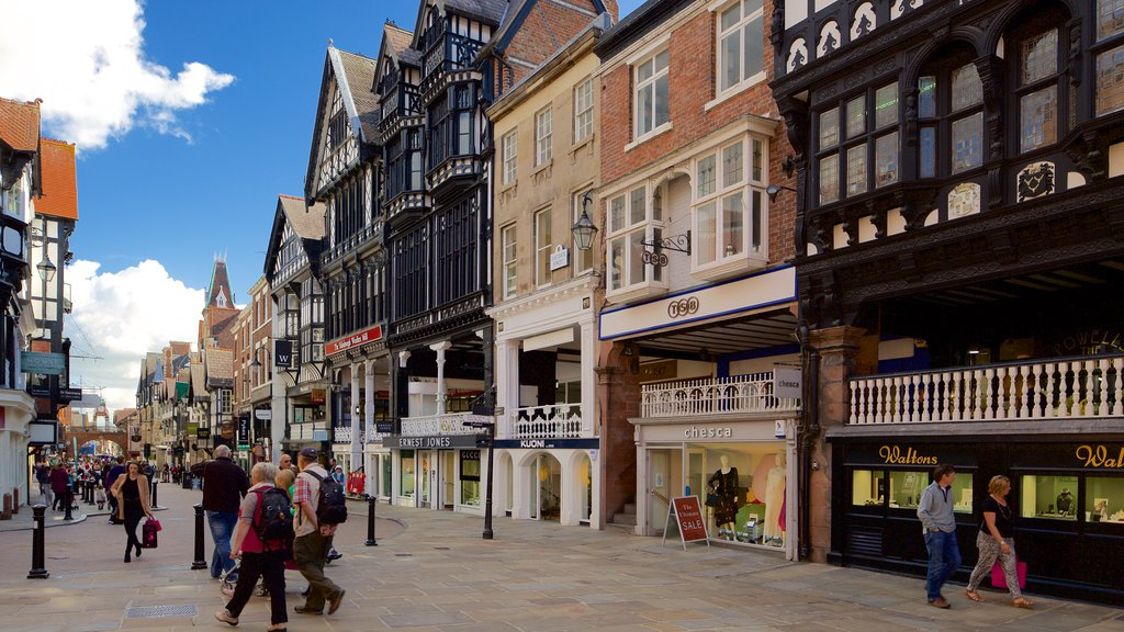 Chester featuring a city and street scenes