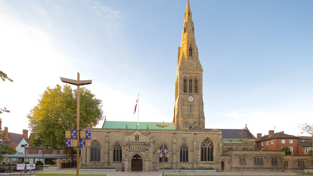 Leicester Cathedral which includes religious elements, heritage architecture and a church or cathedral
