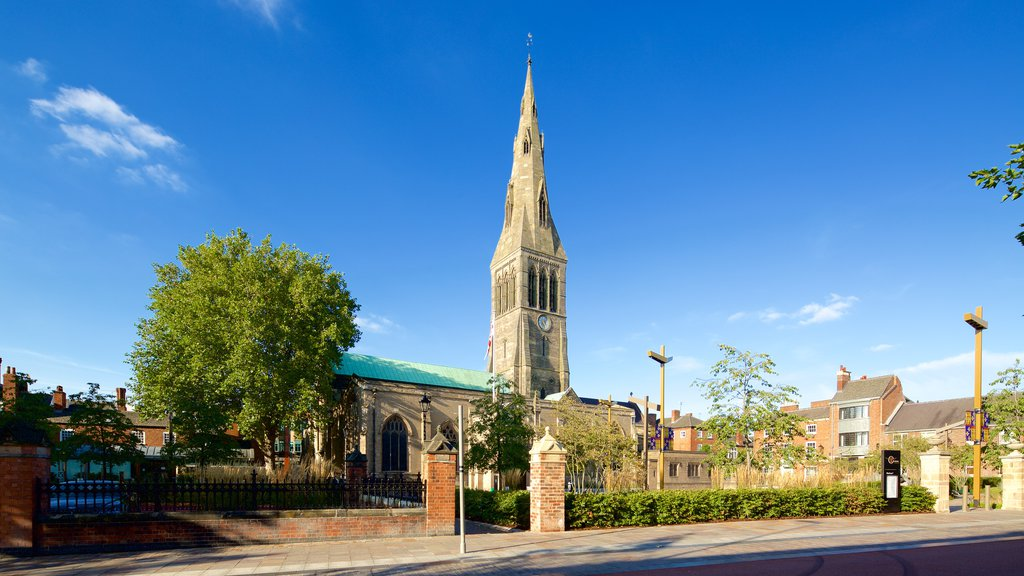Leicester Cathedral which includes a church or cathedral and heritage architecture