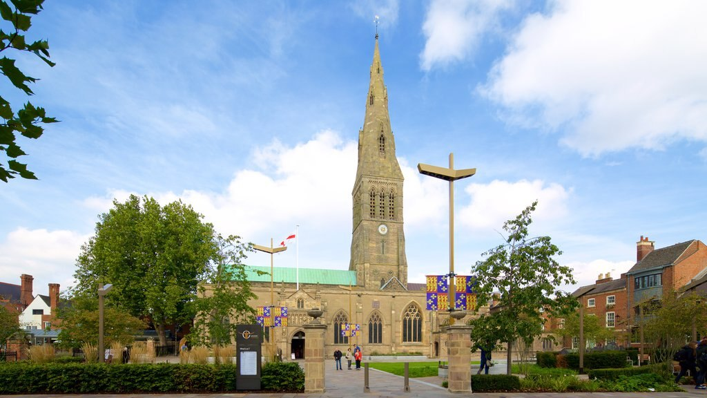 Leicester Cathedral featuring heritage architecture and a church or cathedral