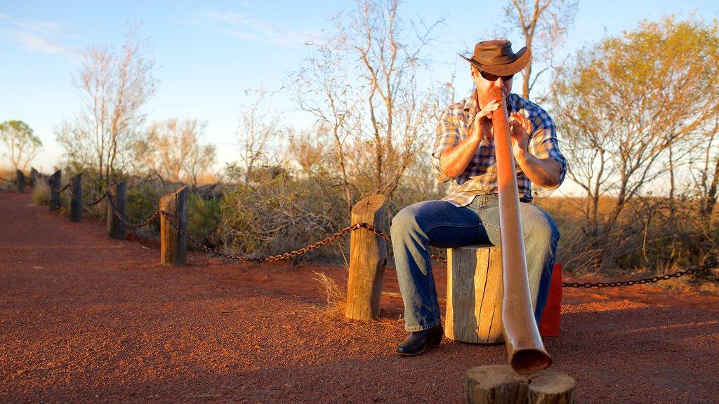 Parque Nacional Uluru-Kata Tjuta ofreciendo escenas tranquilas y música y también un hombre