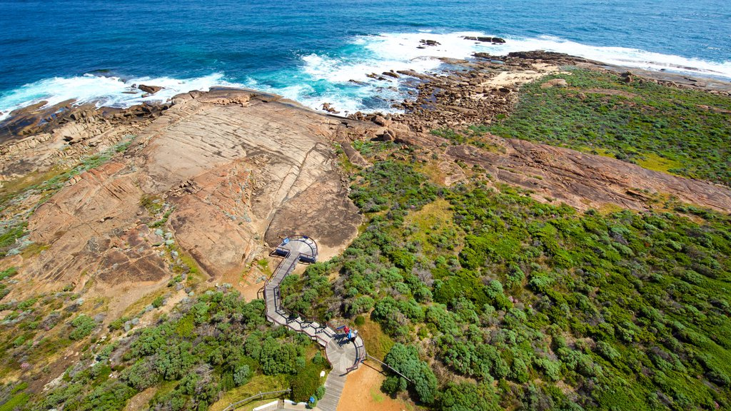 Cape Leeuwin Lighthouse which includes forests, surf and rocky coastline