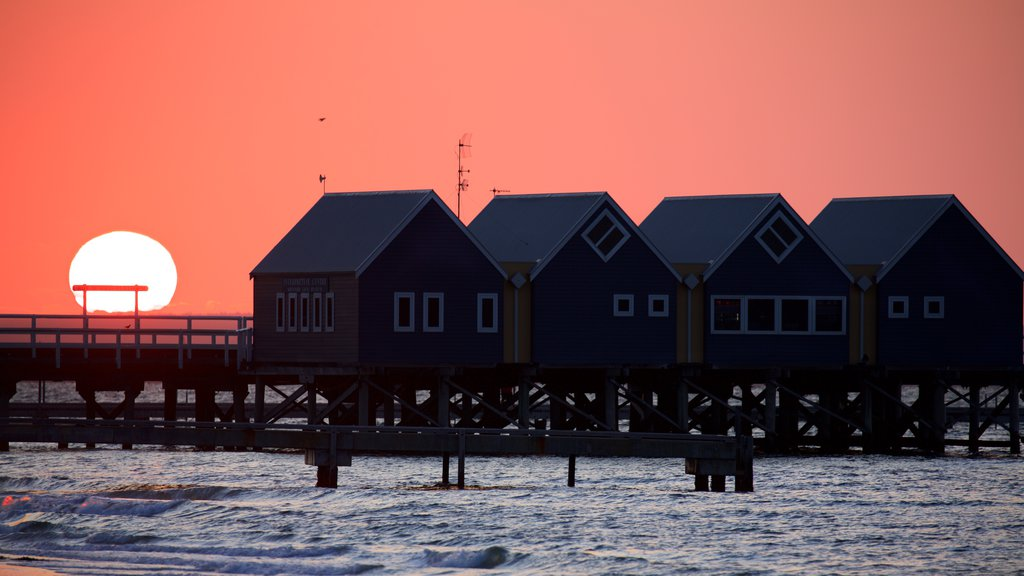Busselton Jetty showing a sunset and general coastal views
