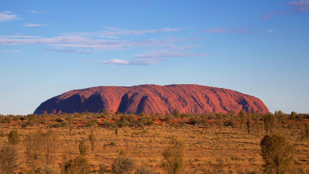 Uluru mostrando vistas de paisajes y vistas al desierto