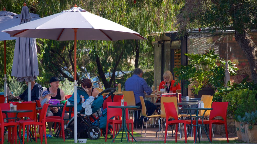 Dunsborough which includes a park and outdoor eating as well as a small group of people