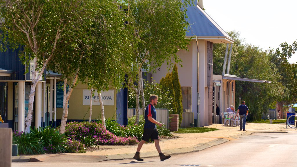 Dunsborough showing a small town or village and street scenes as well as an individual male