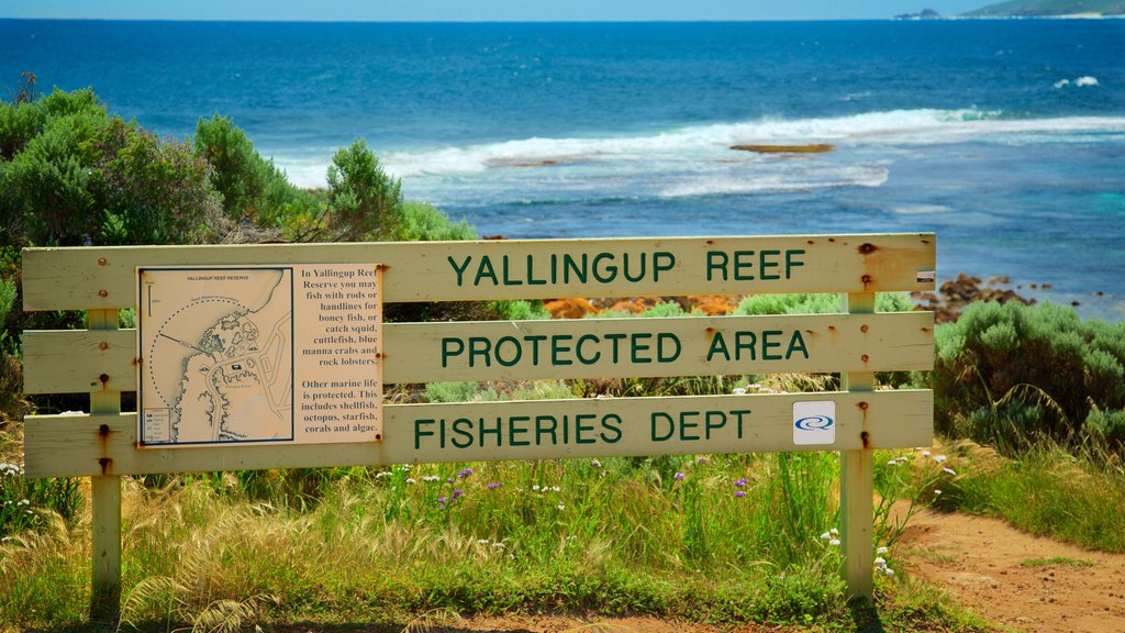 Yallingup which includes rugged coastline and signage