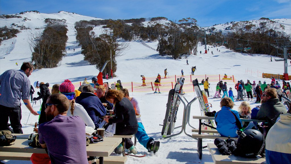 Thredbo which includes snow skiing and snow as well as a large group of people