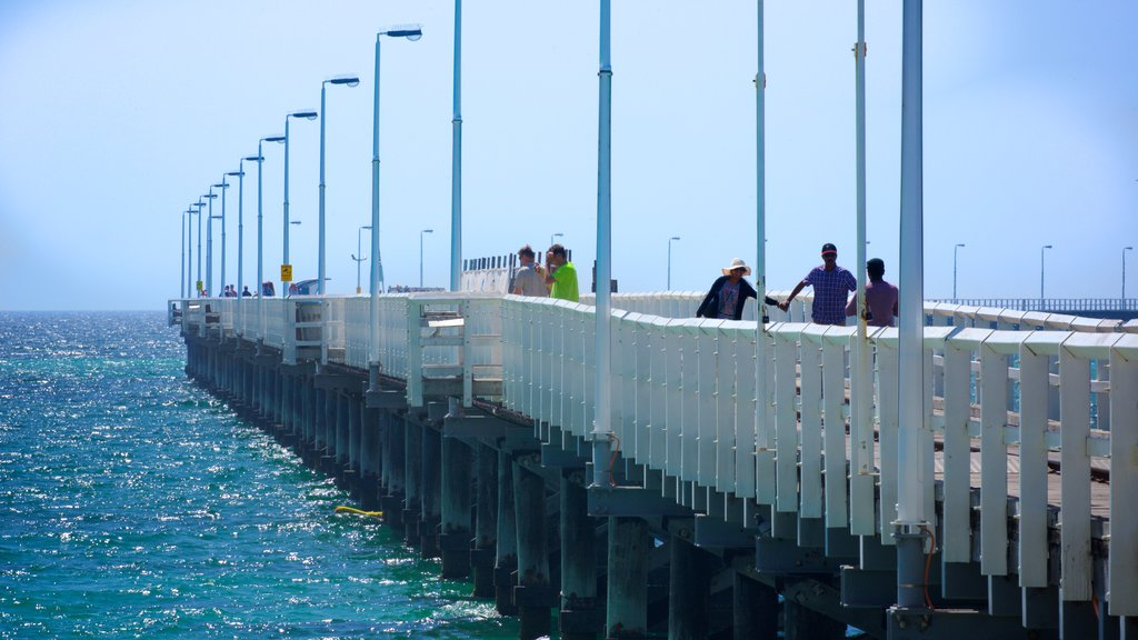 Busselton Jetty showing general coastal views as well as a small group of people