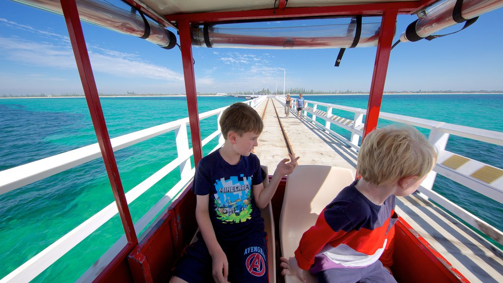 Busselton Jetty featuring general coastal views as well as children